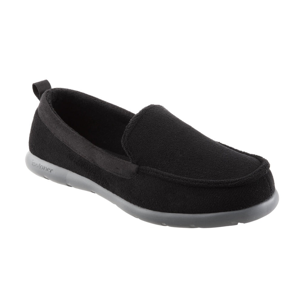 Isotoner with Everywear™ Men's Microterry Moccasin in Black Right Angled View