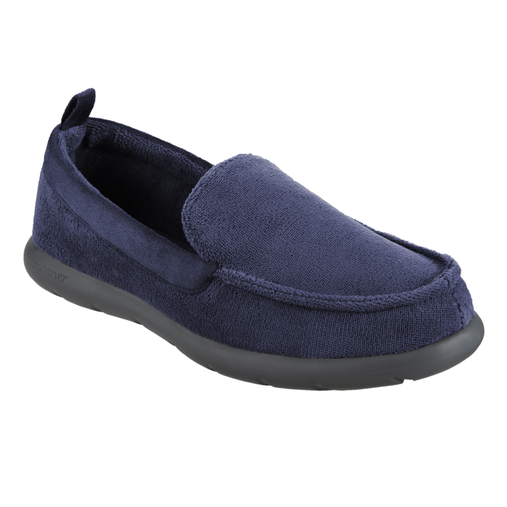 Isotoner with Everywear™ Men's Microterry Moccasin in Navy Blue Right Angled View