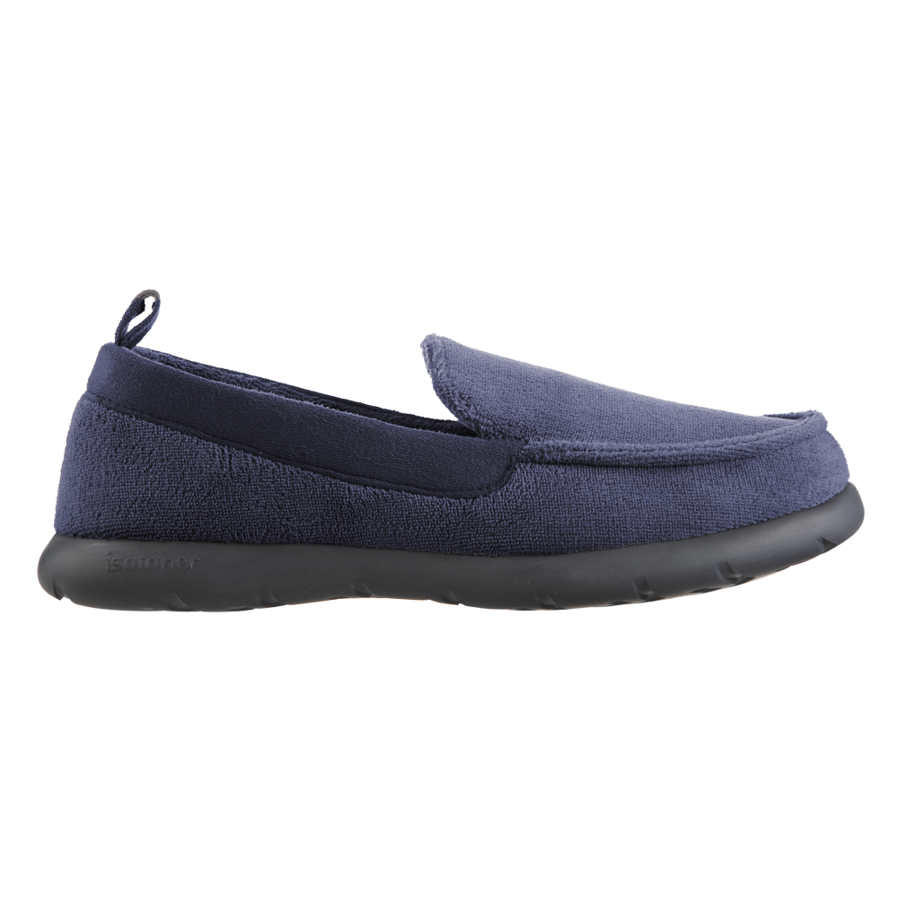 Isotoner with Everywear™ Men's Microterry Moccasin in Navy Blue Profile