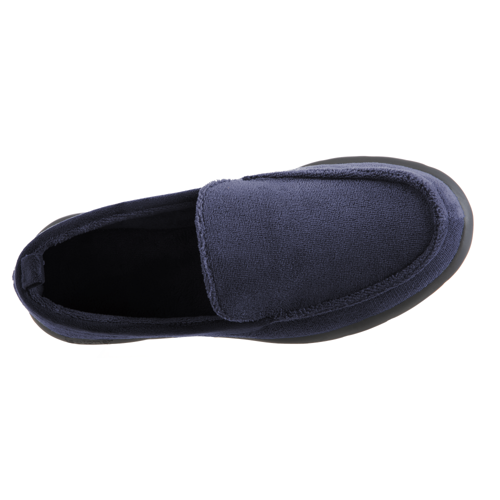 Isotoner with Everywear™ Men's Microterry Moccasin in Navy Blue Inside Top View