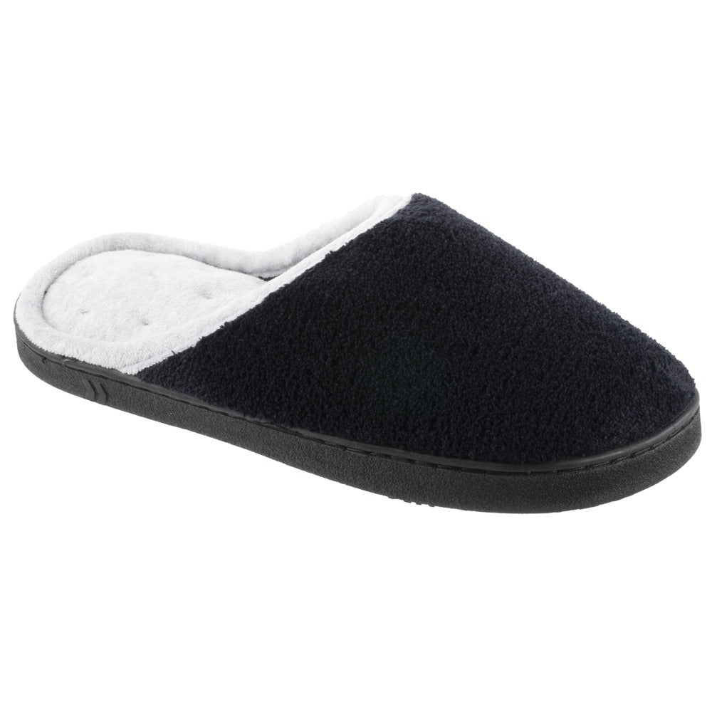Women's Microterry Wider Width Clog Slippers in Black with Grey Lining Right Angled View