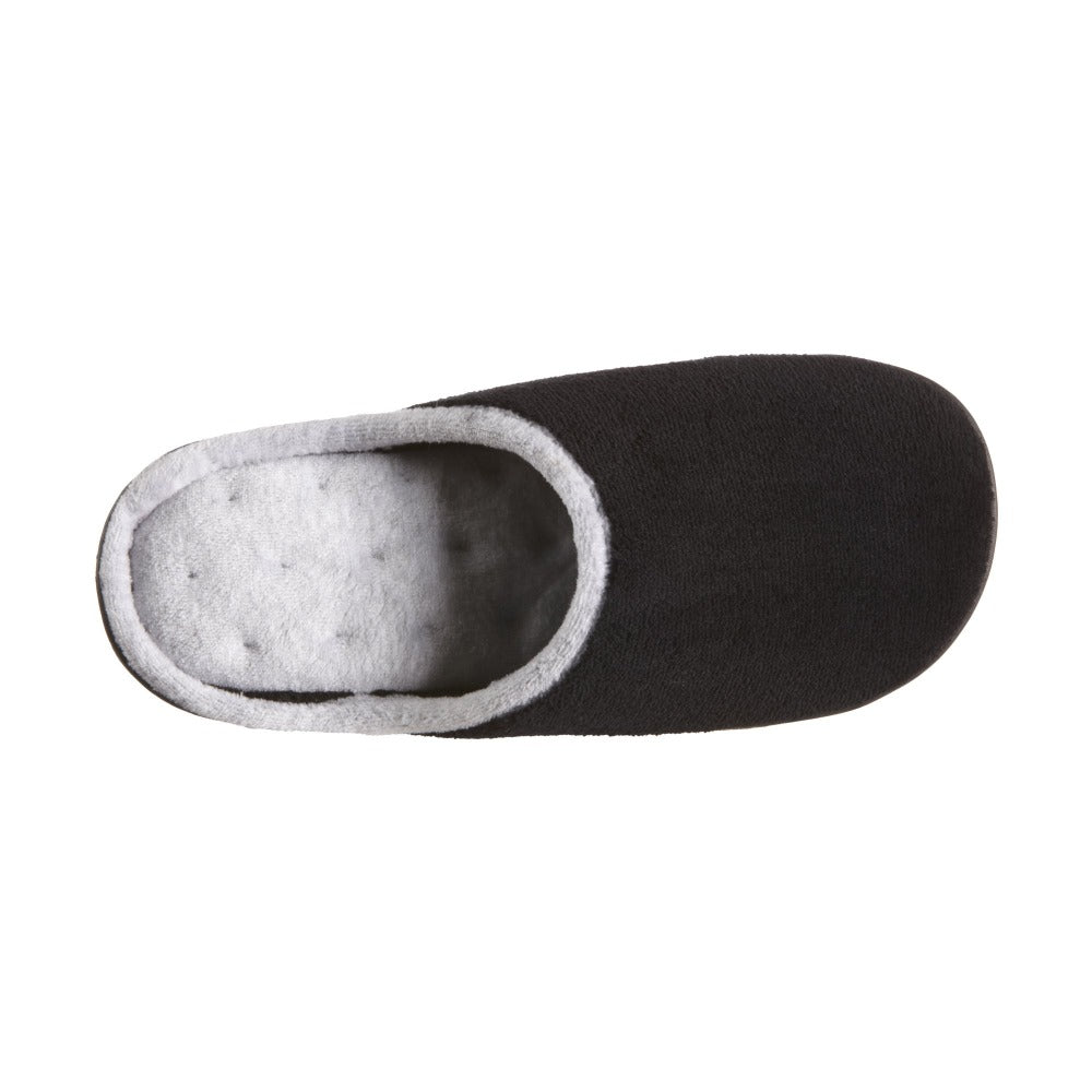 Women's Microterry Wider Width Clog Slippers in Black with Grey Lining Inside Top View