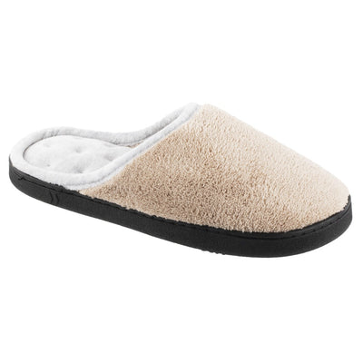 Women's Microterry Wider Width Clog Slippers in Taupe with Grey Lining Right Angled View