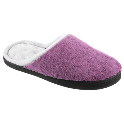 Women's Microterry Wider Width Clog Slippers in Violet with Grey Lining Right Angled View