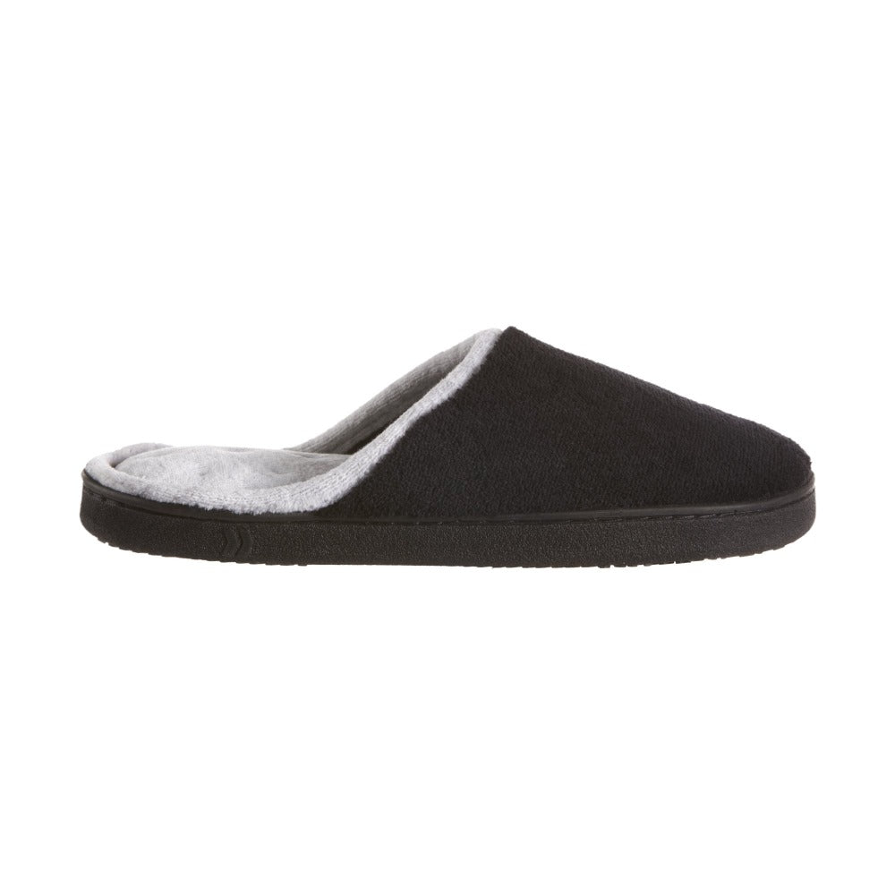 Women's Microterry Wider Width Clog Slippers in Black with Grey Lining Profile