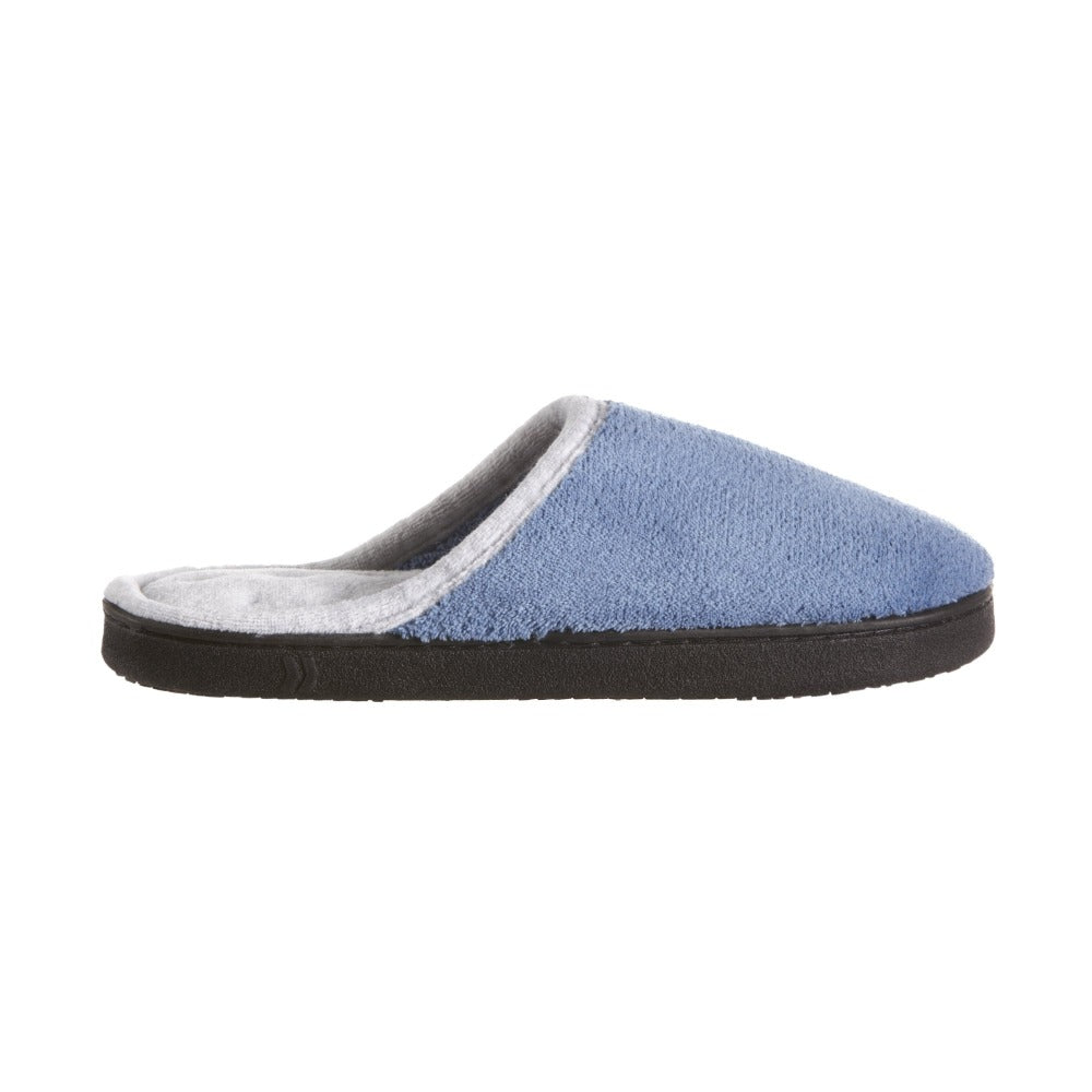 Women's Microterry Wider Width Clog Slippers in Denim with Grey Lining Profile