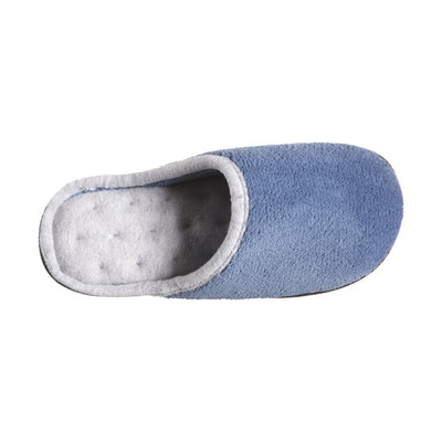 Women's Microterry Wider Width Clog Slippers in Denim with Grey Lining Inside Top View