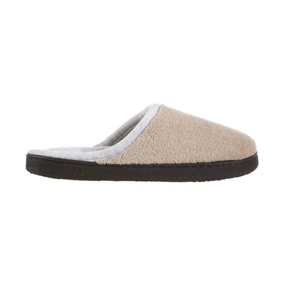 Women's Microterry Wider Width Clog Slippers in Taupe with Grey Lining Profile