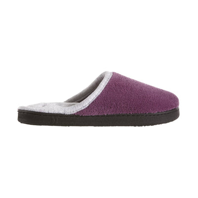 Women's Microterry Wider Width Clog Slippers in Violet with Grey Lining Profile
