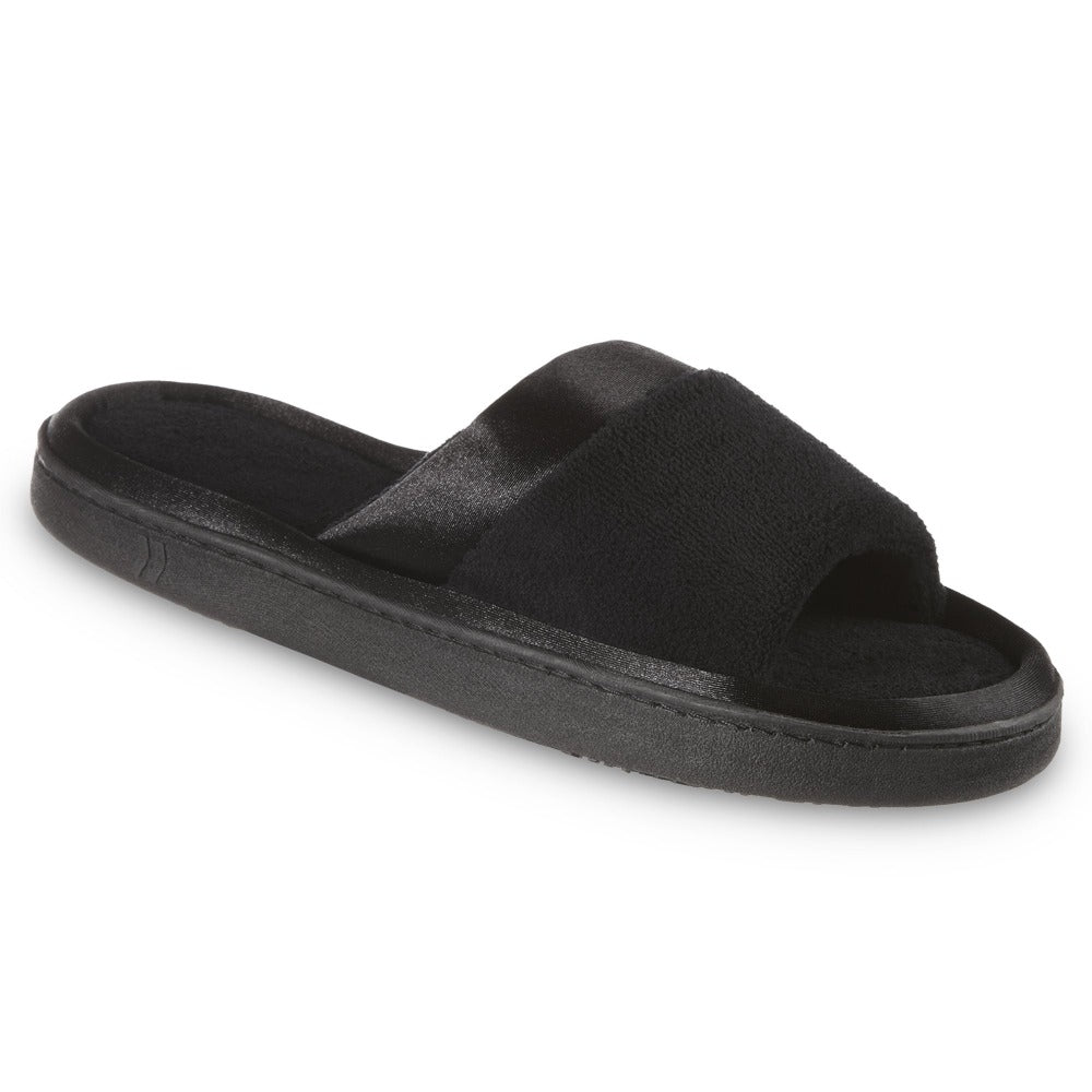 womens microterry satin trim wider width slipper in black