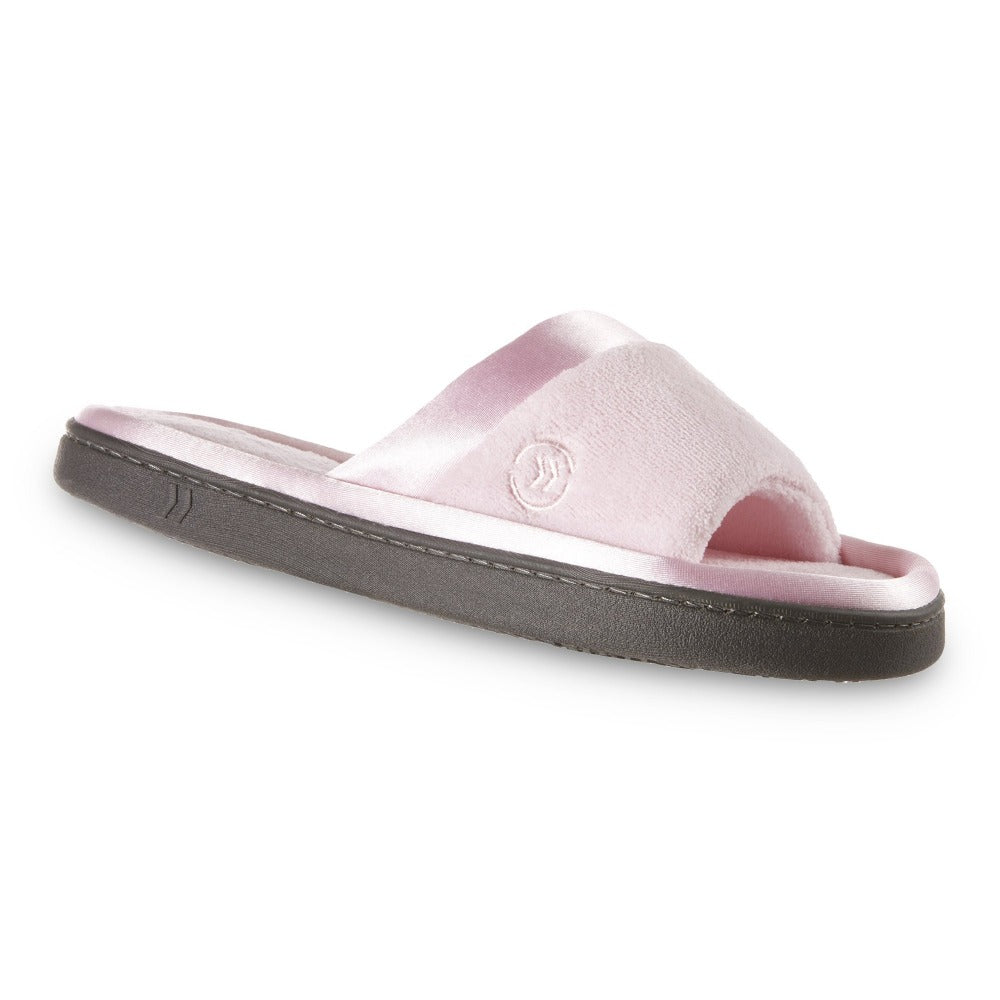 womens microterry satin trim wider width slipper in pink