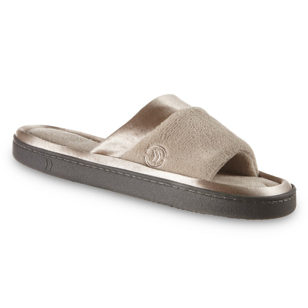 womens microterry satin trim wider width slipper in tan