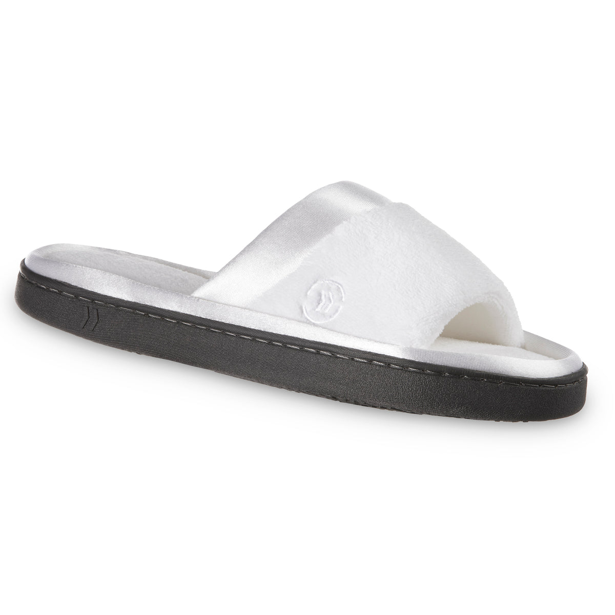 Women's Microterry Satin Trim Wider Width Slide Slippers