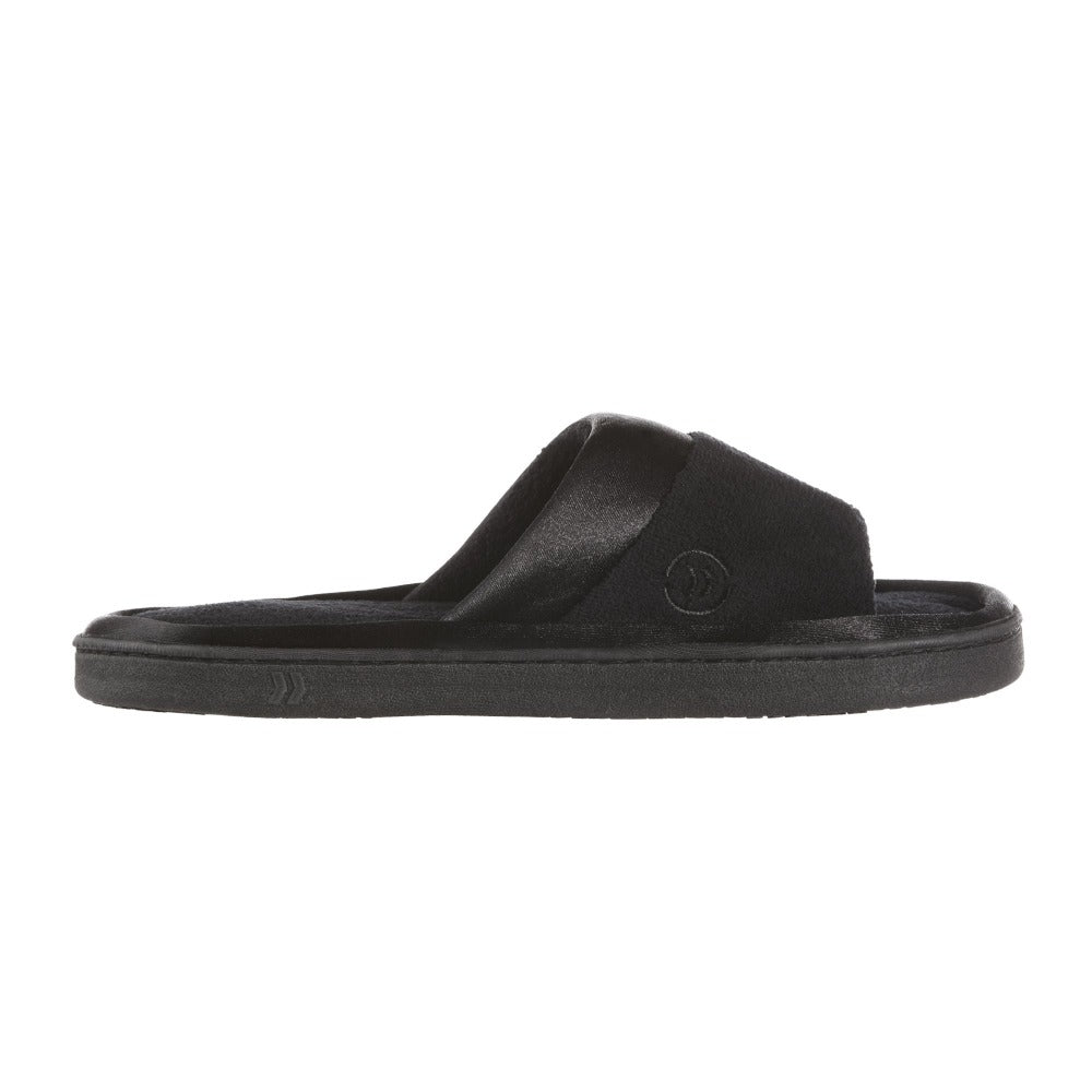 Women's Microterry Satin Trim Wider Width Slide Slippers in Black Profile View