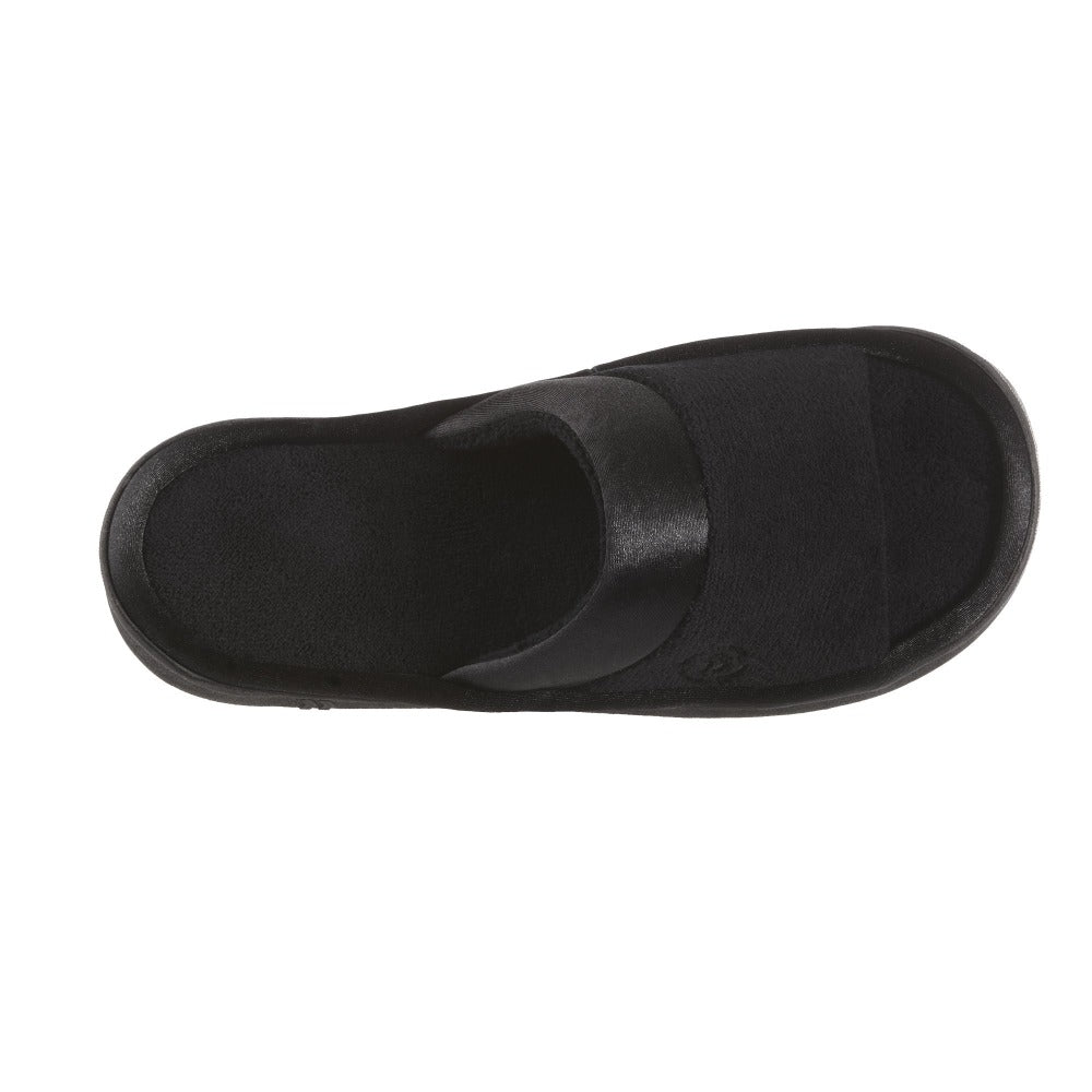 Women's Microterry Satin Trim Wider Width Slide Slippers in Black Top View