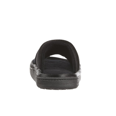 Women's Microterry Satin Trim Wider Width Slide Slippers in Black Heel View