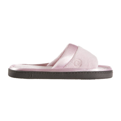 Women's Microterry Satin Trim Wider Width Slide Slippers in Peony (Pink) Profile View