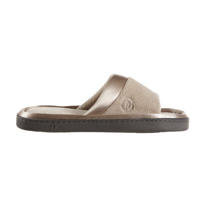 Women's Microterry Satin Trim Wider Width Slide Slippers in Stone Profile View