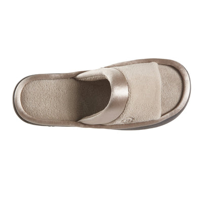 Women's Microterry Satin Trim Wider Width Slide Slippers in Stone Top View