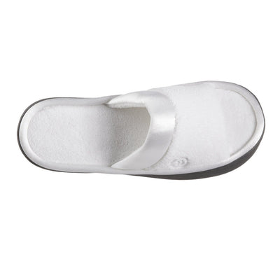 Women's Microterry Satin Trim Wider Width Slide Slippers in White Top View
