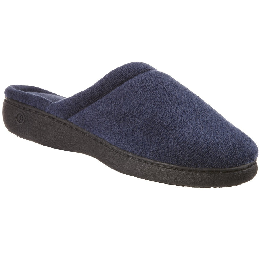 Women's Terry Clog Slippers in Navy Blue Right Angle View