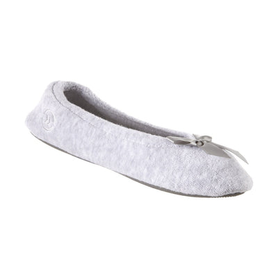 Women's Classic Terry Ballerina Slippers Heather Grey Left Angled View