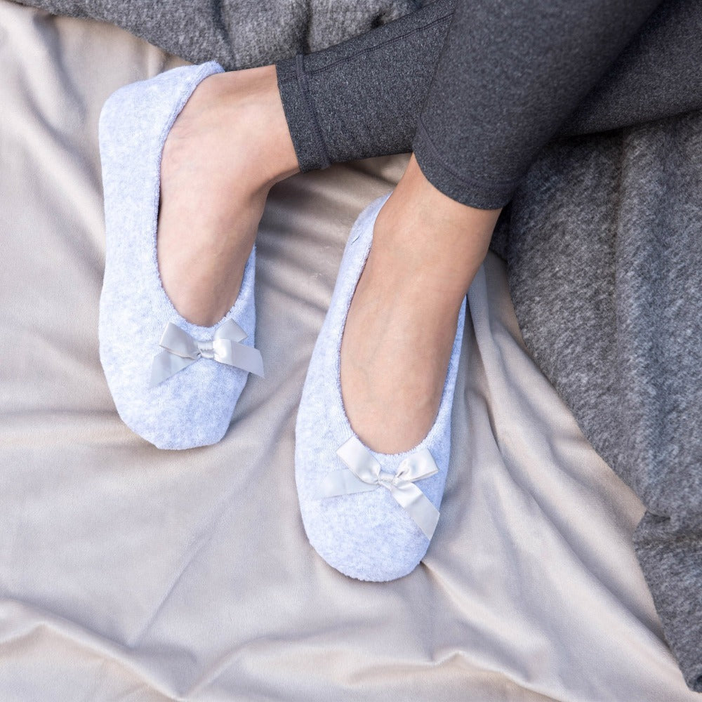 Women's Classic Terry Ballerina Slippers on model with feet up