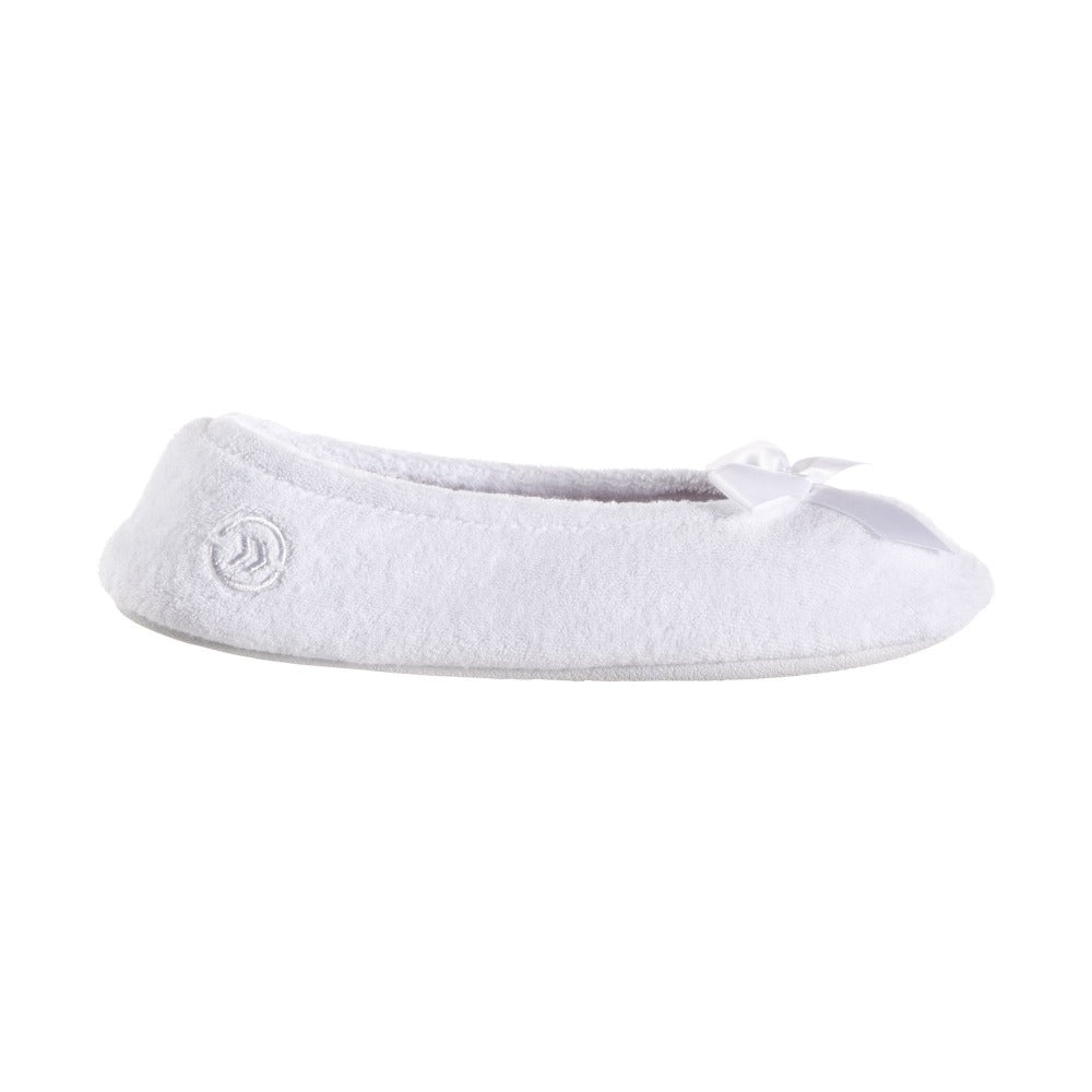 Women's Classic Terry Ballerina Slippers White Stripe Profile View