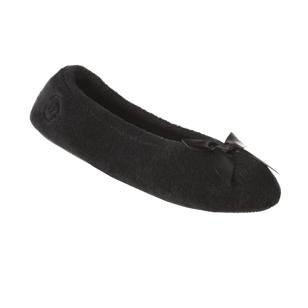 Women's Classic Terry Ballerina Slippers Black Left Angled View