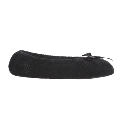 Women's Classic Terry Ballerina Slippers Black Profile View