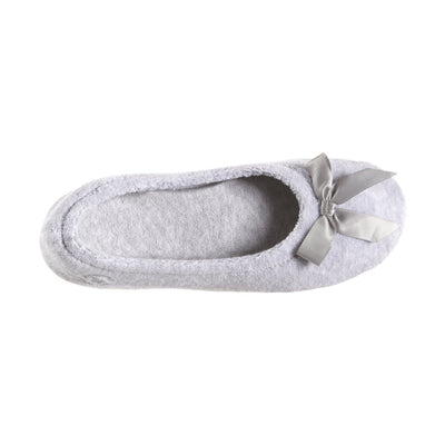 Women's Classic Terry Ballerina Slippers Heather Grey Top View