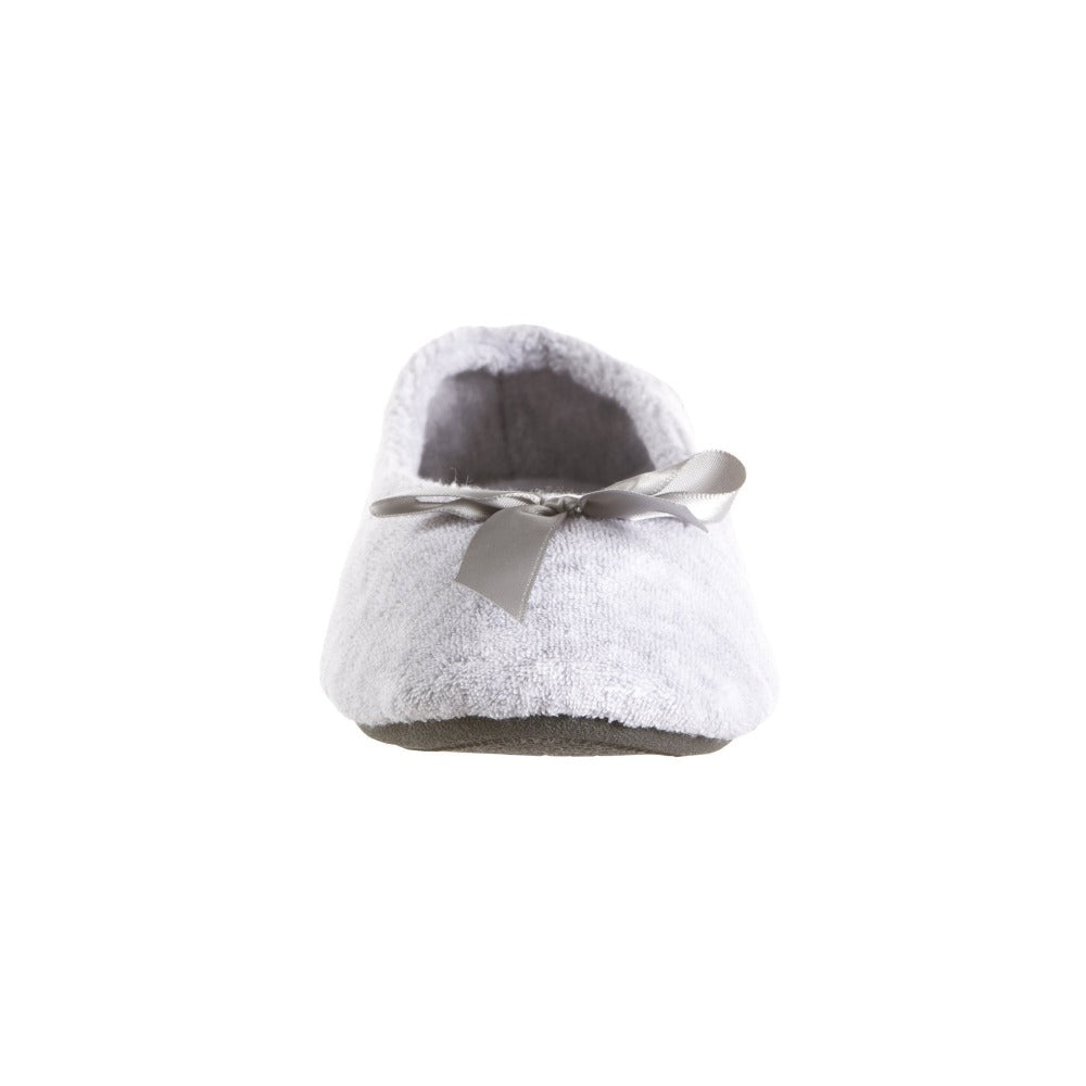 Women's Classic Terry Ballerina Slippers Heather Grey Toe View