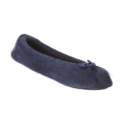 Women's Classic Terry Ballerina Slippers Navy Left Angled View