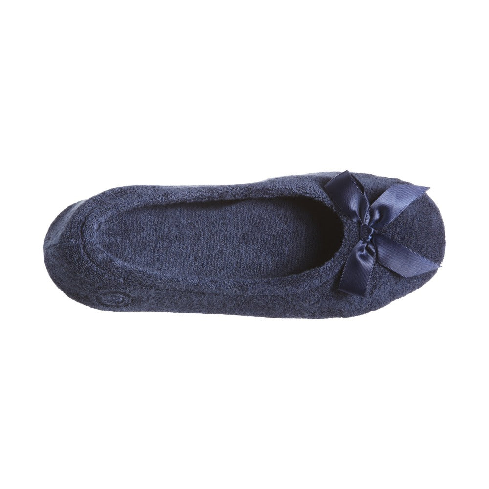 Women's Classic Terry Ballerina Slippers in Navy Top View