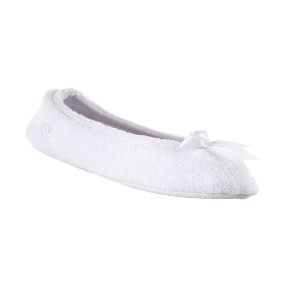 Women's Classic Terry Ballerina Slippers White Left Angled View