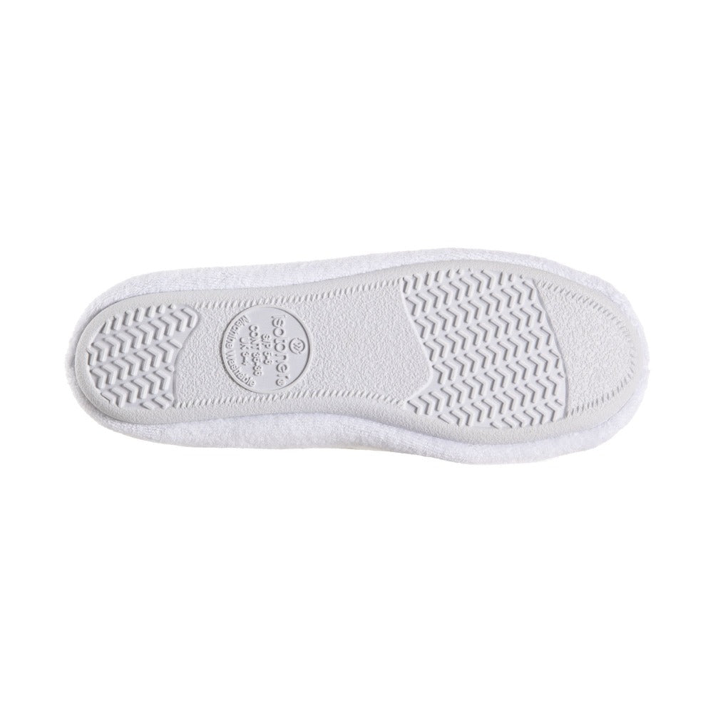 Women's Classic Terry Ballerina Slippers White Stripe Sole View