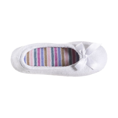 Women's Classic Terry Ballerina Slippers White Stripe Top View
