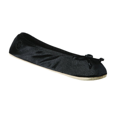 Women's Satin Ballerina Slippers with Satin Bow in Black Left Angled View