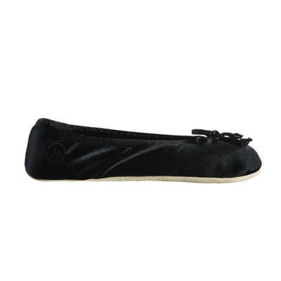 Women's Satin Ballerina Slippers with Satin Bow in Black Profile