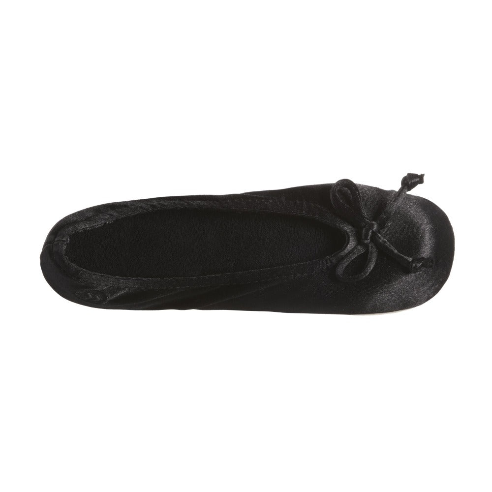 Women's Satin Ballerina Slippers with Satin Bow in Black Inside Top View