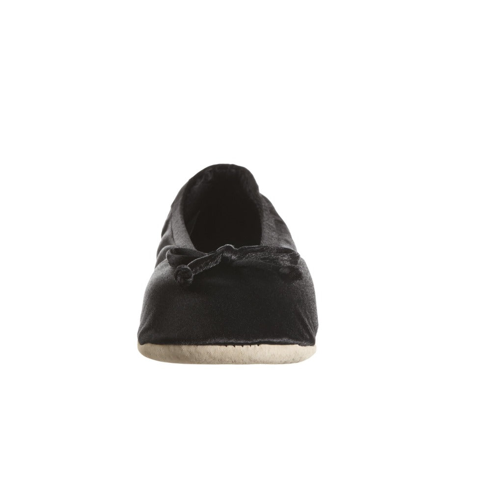 Women's Satin Ballerina Slippers with Satin Bow in Black Toe Bow View
