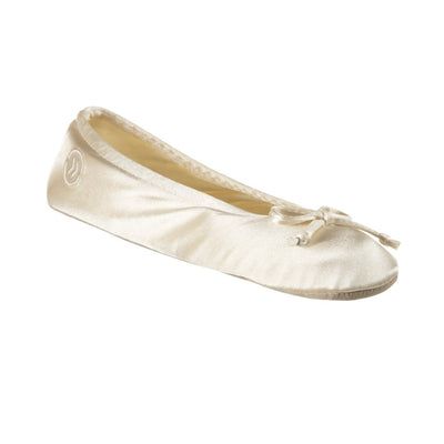 Women's Satin Ballerina Slippers with Satin Bow in Cream Left Angled View
