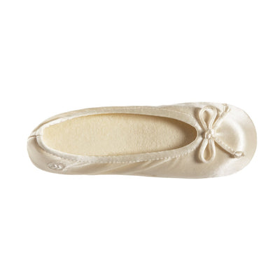 Women's Satin Ballerina Slippers with Satin Bow in Cream Inside Top View
