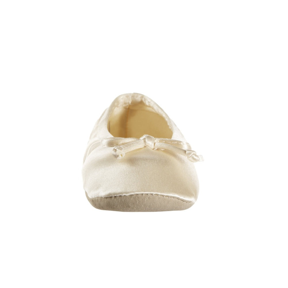 Women's Satin Ballerina Slippers with Satin Bow in Cream Toe Bow View