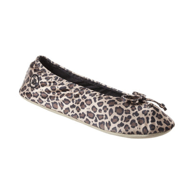 Women's Satin Ballerina Slippers with Satin Bow in Cheetah Left Angled View