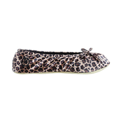 Women's Satin Ballerina Slippers with Satin Bow in Cheetah Profile