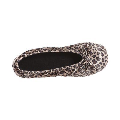 Women's Satin Ballerina Slippers with Satin Bow in Cheetah Inside Top View