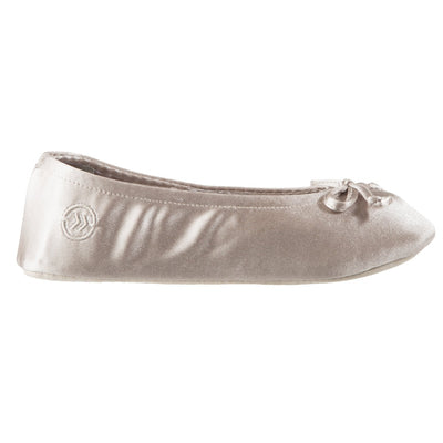 Women's Satin Ballerina Slippers with Satin Bow in Sandtrap Profile