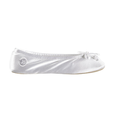 Women's Satin Ballerina Slippers with Satin Bow in White Profile