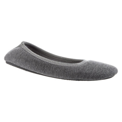 Women's Heathered Jersey Jillian Ballerina Slippers Grey Right angled view